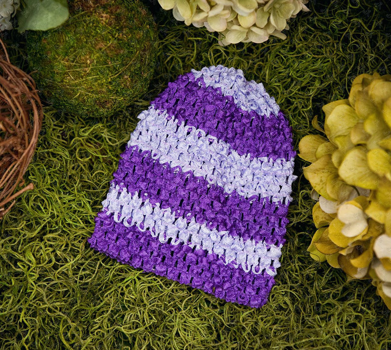 Waffle Beanie Hat (Purple and Lavender Stripes) - Ema Jane