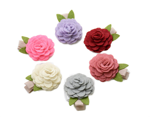 Shaby Chic Small Felt Roses Bloom Hair Clips Set - Ema Jane