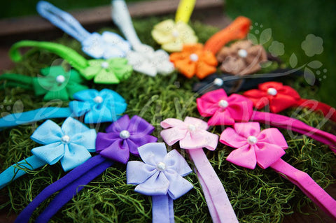 Ribbon Rosettes (Grosgrain) with Pearl Center on Headbands - Ema Jane