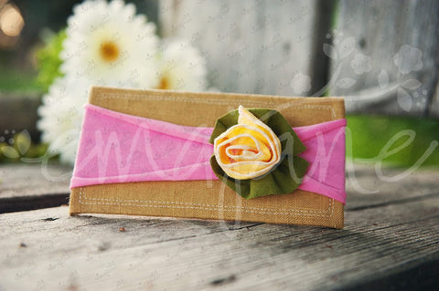 "Shabby Chic ""Kawaii"" Headband - Bright Sunshine Yellow Spring Rose on Bubblegum Pink - Ema Jane"