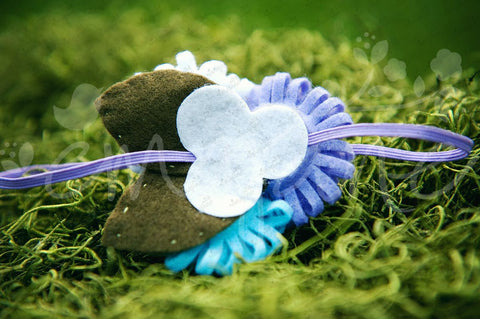 Loopy Triplet Felt Flowers (White, Aqua Blue, Lavender), Headbands,Bows,Hair Flowers, Ema Jane Boutique
