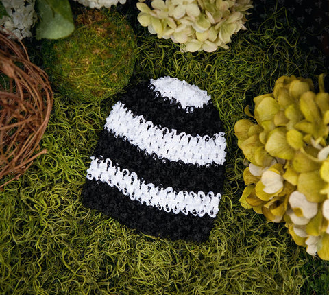 Waffle Beanie Hat (Jail Bird Stripes) - Ema Jane