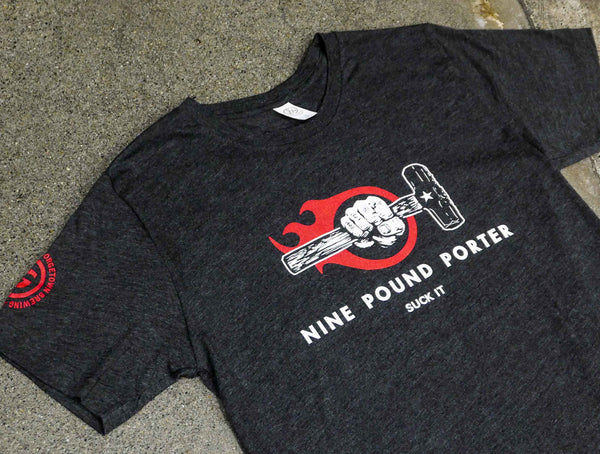 nine pound porter shirt with red flame