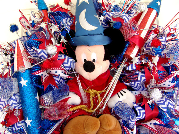 Light Up Deluxe Over the Top Mickey Mouse Fantasia 4th of July Door Wreath