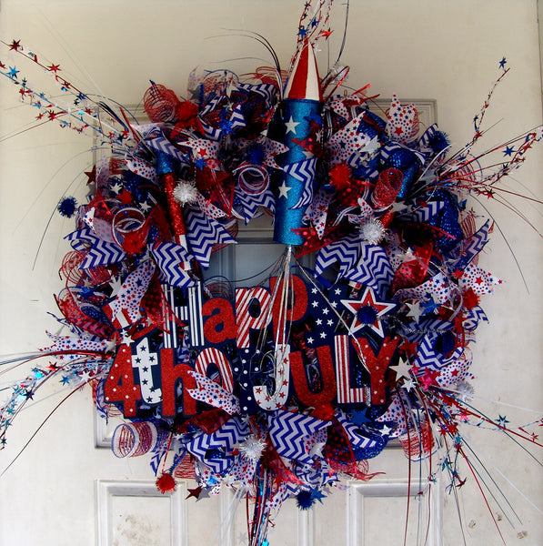 Rockets Fireworks 4th of July Deco Mesh Door Wreath