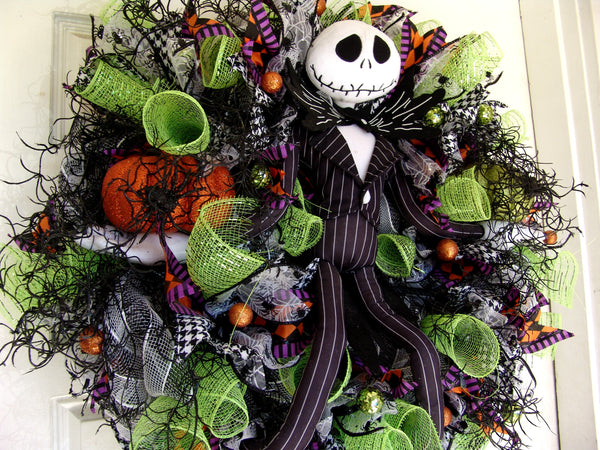 Colorful Jack Skellington Nightmare Before Christmas NBC Halloween Wreath
