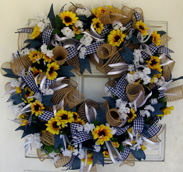 Country Sunflower Summer Spring Everyday Deco Mesh Door Wreath fall