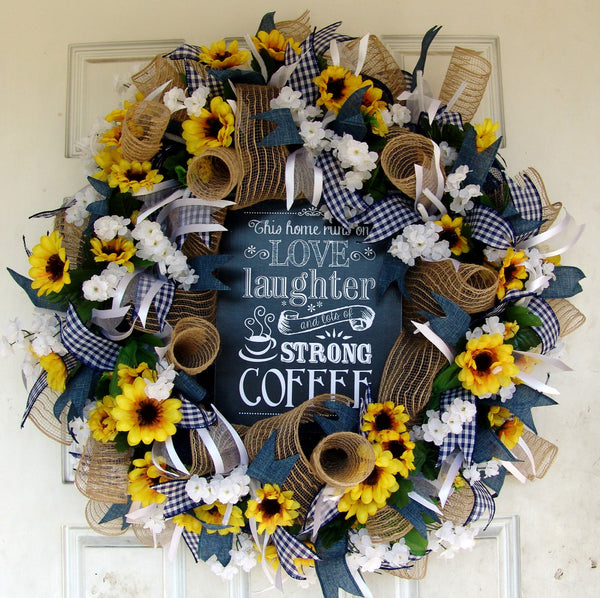 Coffee Sign, Sunflower spring Summer Wreath for Front Door