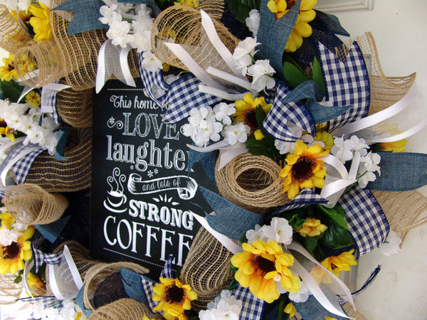 Coffee Sign, Sunflower spring Summer Wreath for Front Door, Fall
