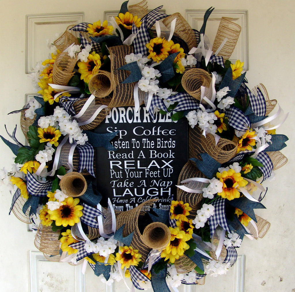 Porch Rules Sign, Sunflower spring Summer Wreath for Front Door