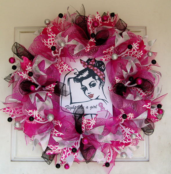 Breast Cancer Awareness Deco Mesh Wreath Fight Like a Girl