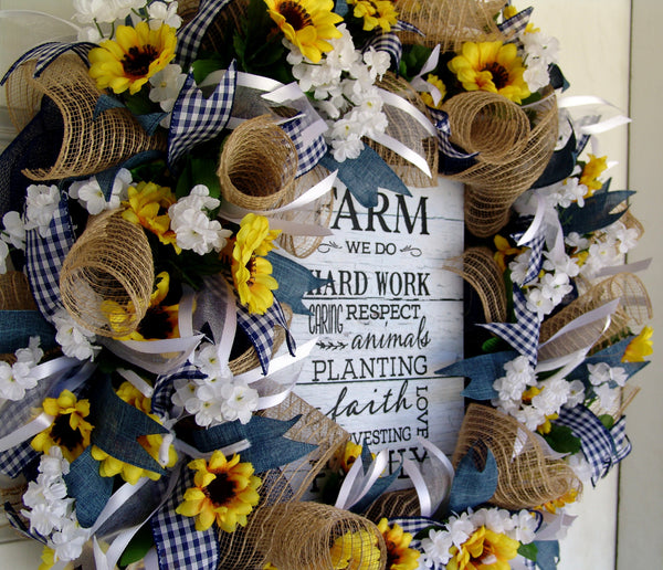 Country Sunflower Farmhouse Summer Spring Everyday Deco Mesh Door Wreath