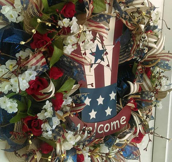 Welcome Rustic Navy Blue & Dark Red 4th of July Deco Mesh Door Wreath