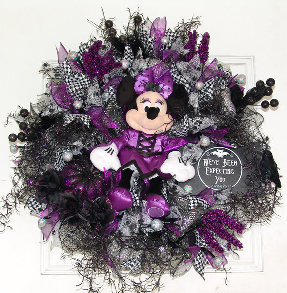 Plush Purple Minnie Mouse Vampire Halloween Deco Mesh Door Wreath fandom