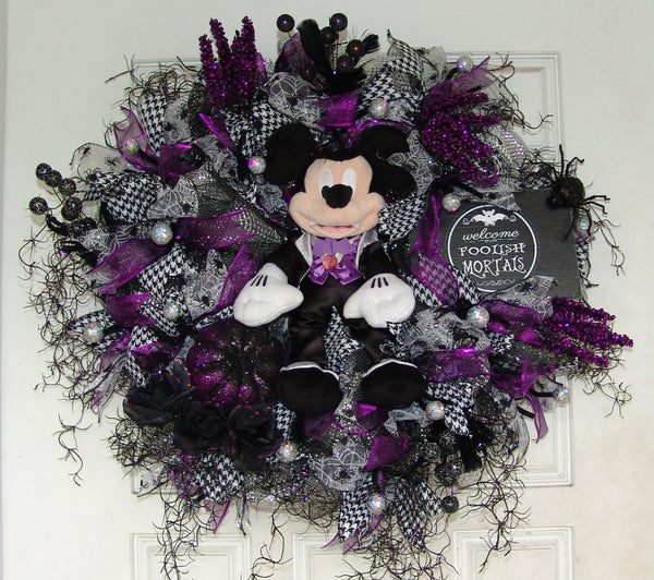 Plush Purple Mickey Mouse Vampire Halloween Deco Mesh Door Wreath fandom