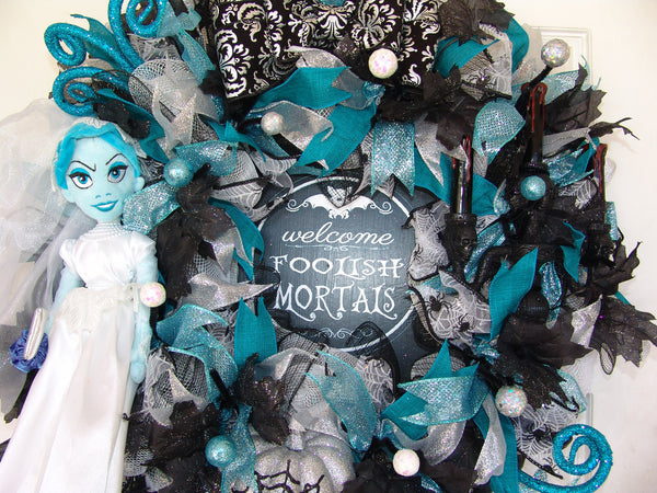 Haunted Mansion Ride Ghost Bride Halloween Deco Mesh Wreath fandom