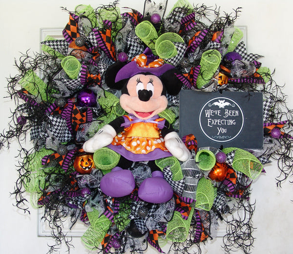 Disney Minnie Mouse Witch Halloween Deco Mesh Door Wreath fandom