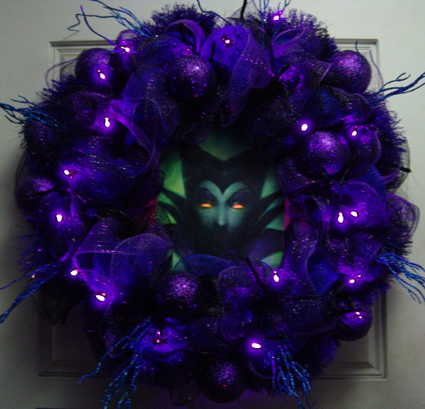 Light Up Eyes Maleficent Deco Mesh Door Wreath Halloween fandom