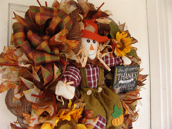 Scarecrow Boy Sunflower Thanksgiving Fall Autumn Deco Mesh Door Wreath