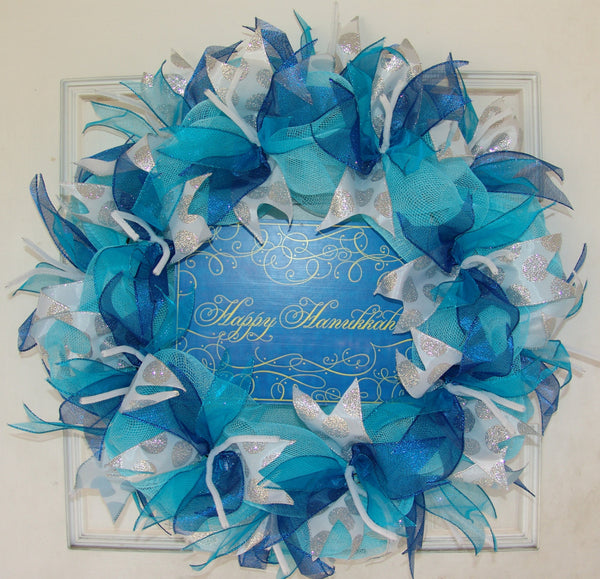 Happy Hanukkah Chanukah Deco Mesh Door Wreath