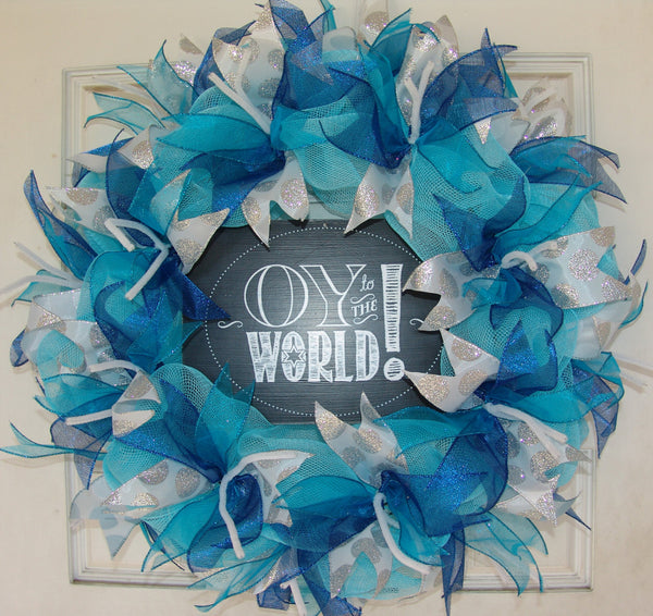 Oy to the World Hanukkah Chanukah Deco Mesh Door Wreath
