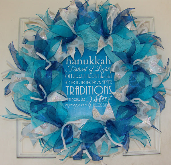 Hanukkah Script Sayings Chanukah Deco Mesh Door Wreath