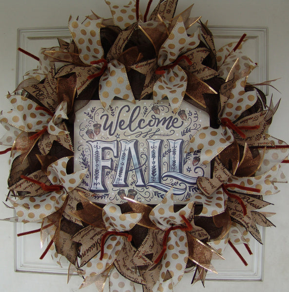 Welcome Fall Thanksgiving Fall Autumn Deco Mesh Door Wreath