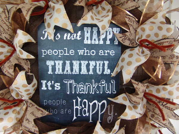 Happy Thankful People Thanksgiving Fall Autumn Deco Mesh Door Wreath