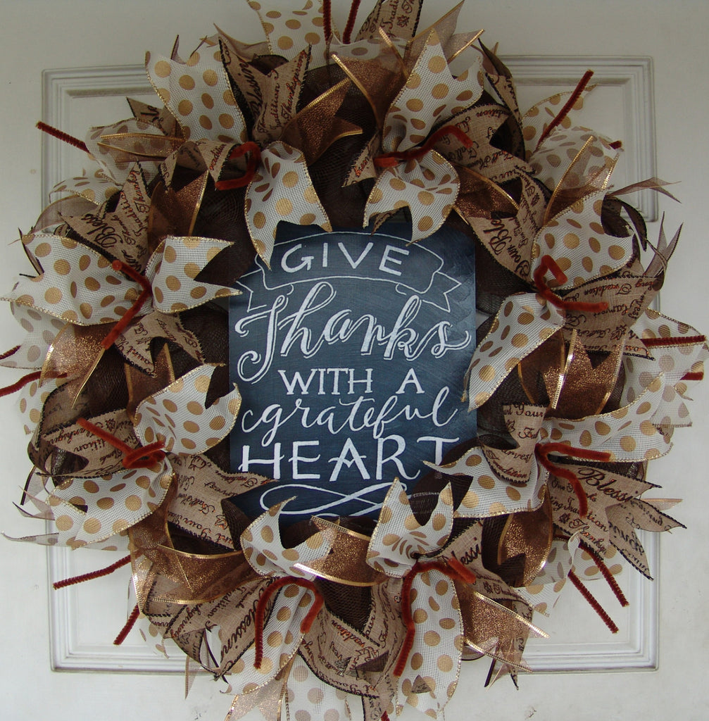 Give Thanks with a Grateful Heart Thanksgiving Fall Autumn Deco Mesh Door Wreath