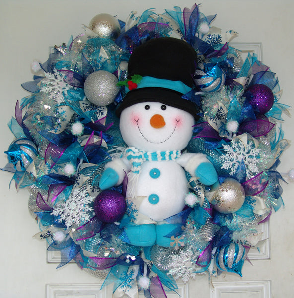 Deluxe XL Snowman Christmas Winter Door Wreath WITH LIGHTS!