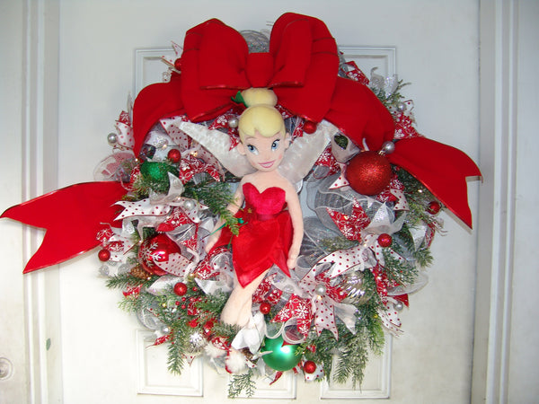XL Deluxe Light Up Tinkerbell Disney Christmas Winter Deco Mesh Door Wreath