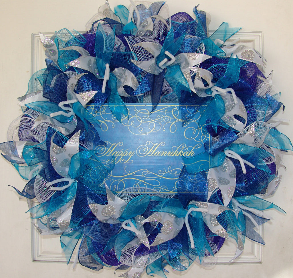 Royal Dark Blue and Teal Silver Happy Hanukkah Deco Mesh Door Wreath