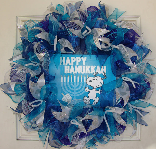 Royal Dark Blue and Teal Silver Snoopy Hanukkah Deco Mesh Door Wreath
