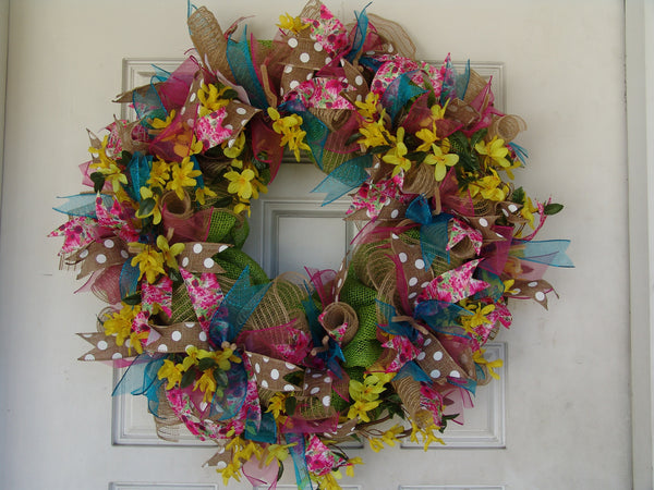 Classic Spring Deco Mesh Wreath Spring, Door, Wall, Decor