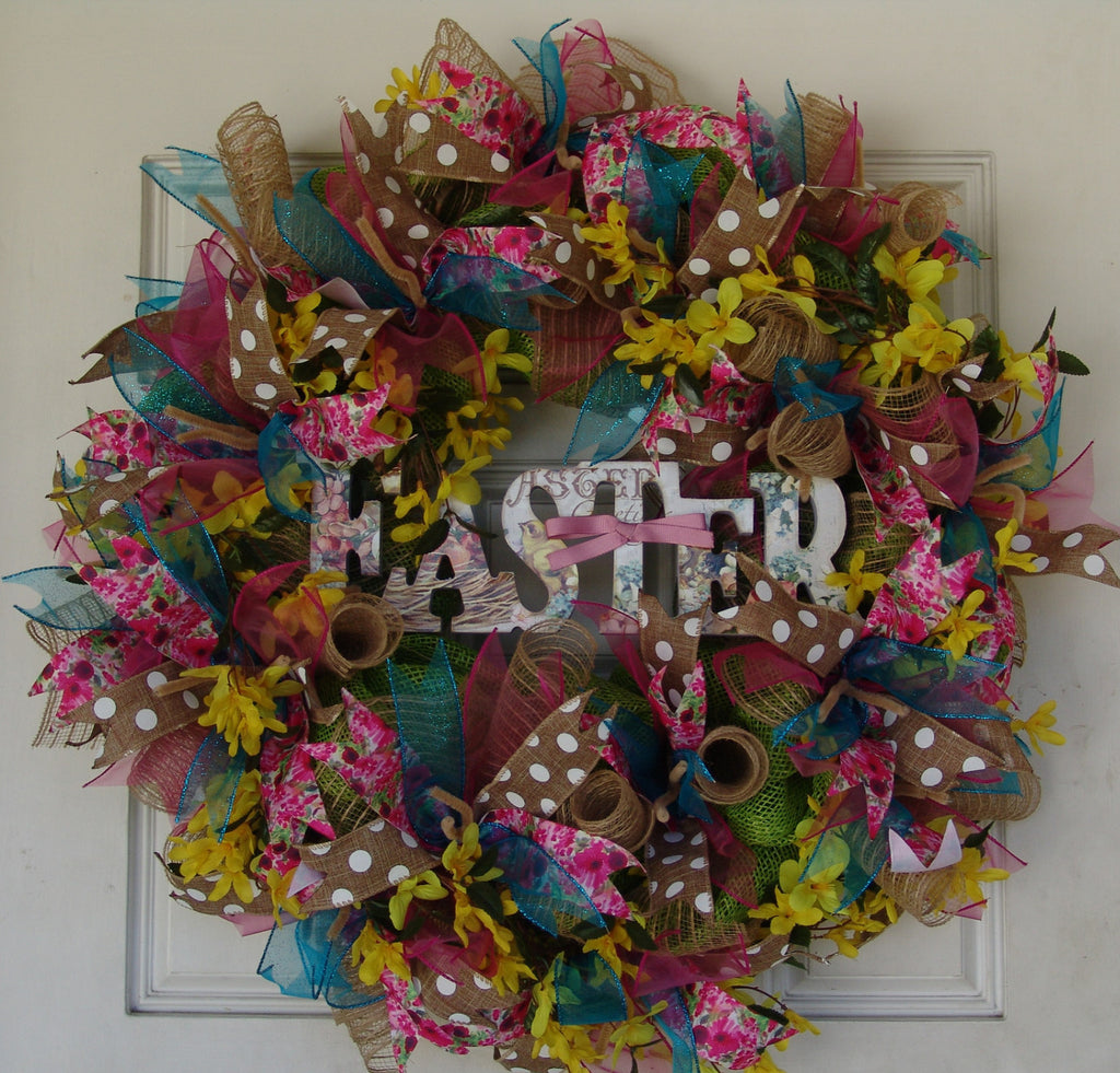 Easter Deco Mesh Wreath Spring, Door, Wall