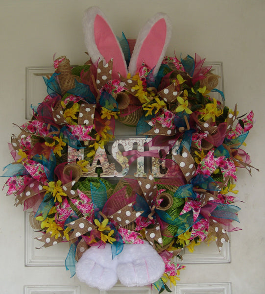 Deluxe Easter Bunny Rabbit Ears Paws Deco Mesh Wreath Spring