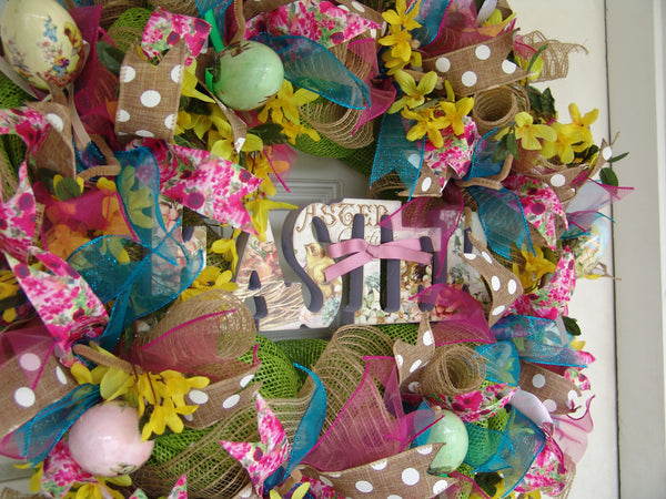 Deluxe Easter Eggs Deco Mesh Wreath Spring, Eggs, Door