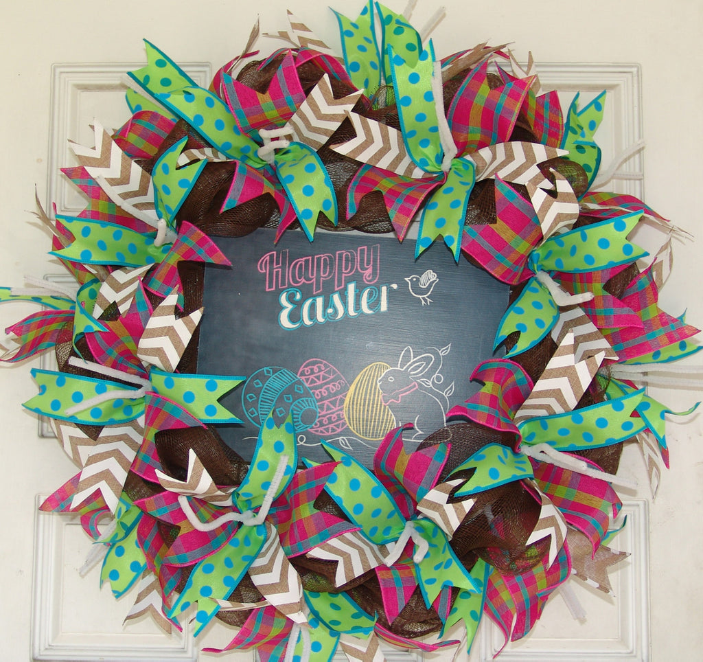 Happy Easter Bunny Eggs Chick Tulips Deco Mesh Door Wreath 25""