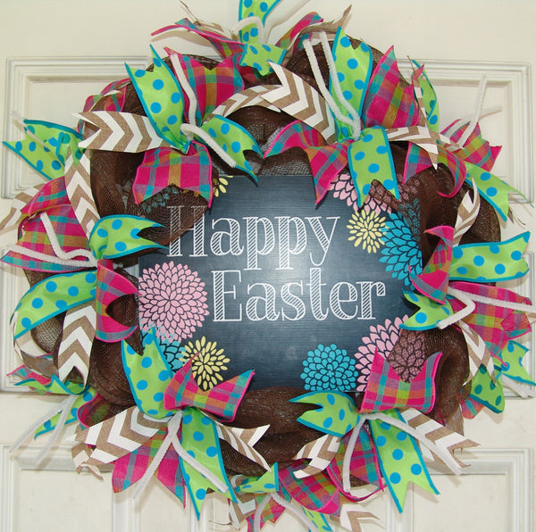 Happy Easter Flowers Deco Mesh Door Wreath 20""