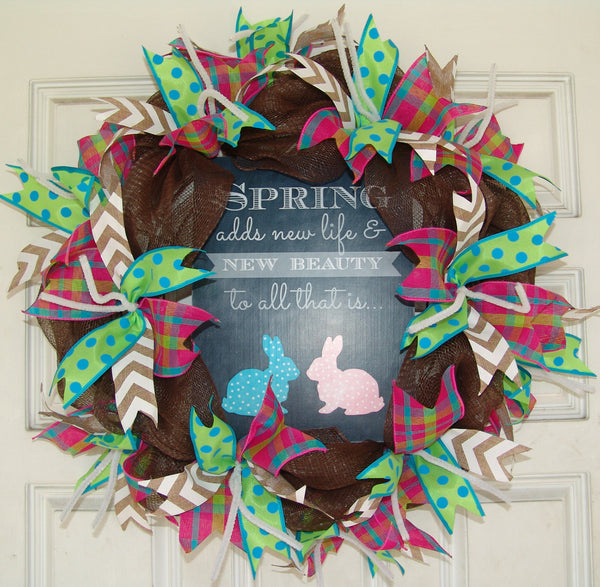 Spring Adds New Life Easter Deco Mesh Door Wreath 20""