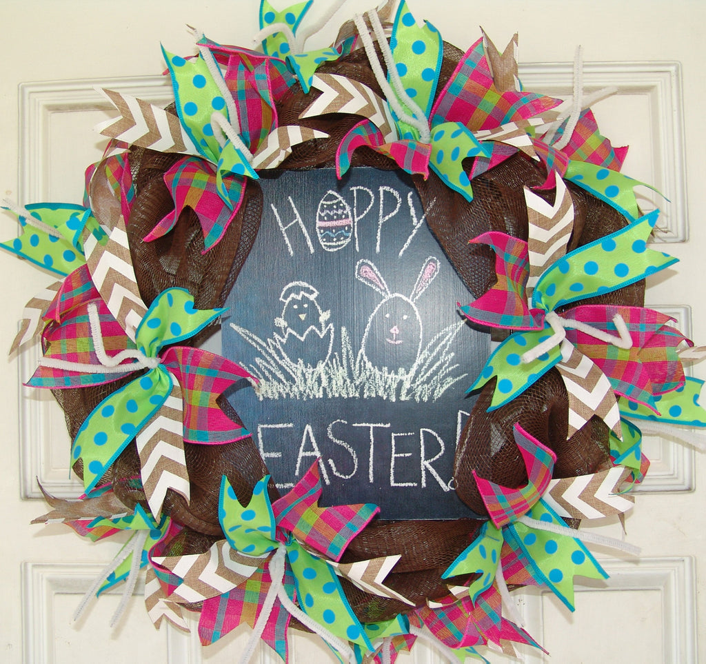 Hoppy Easter Deco Mesh Door Wreath 20""