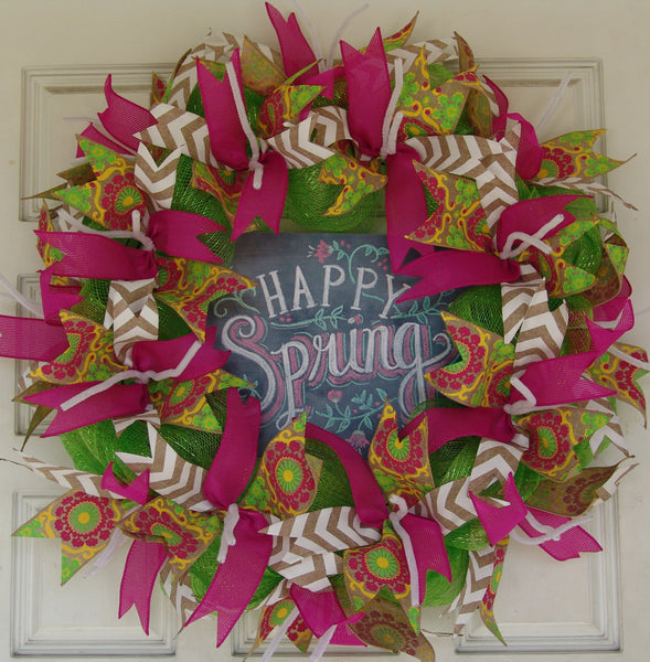 Happy Spring Easter Pink Deco Mesh Door Wreath 25""
