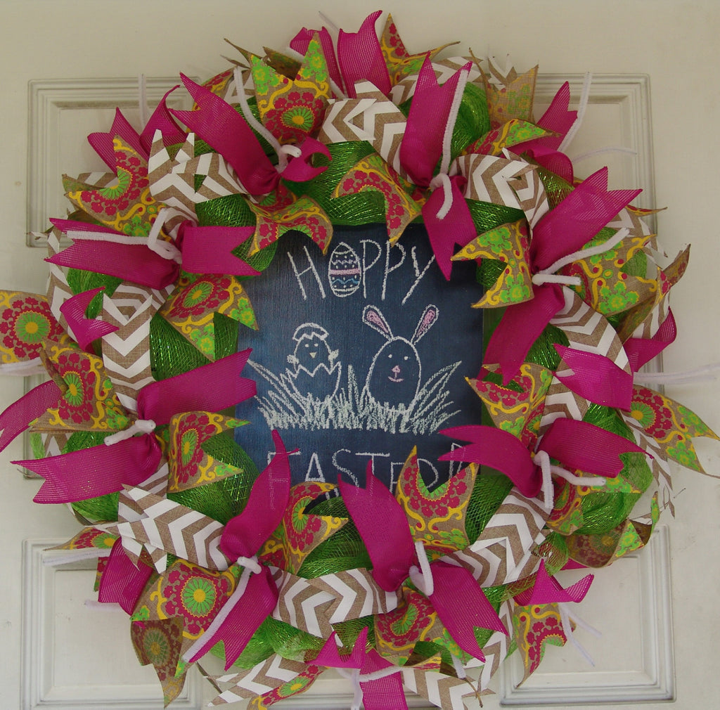 Hoppy Easter Pink Deco Mesh Door Wreath 25""