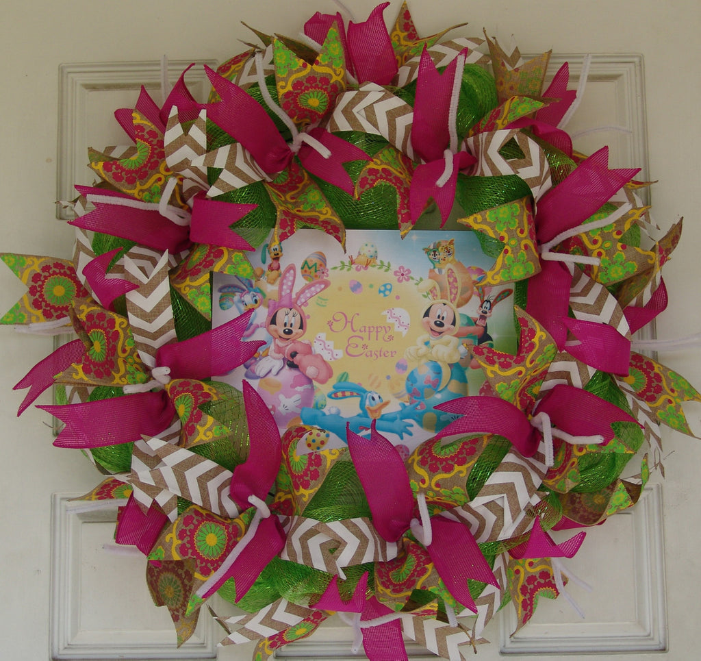Disney Easter Pink Deco Mesh Door Wreath 25""