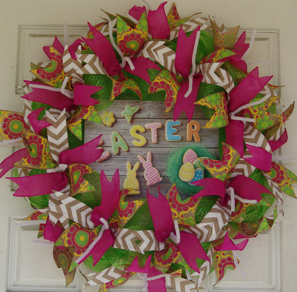 Easter Sugar Cookies Pink Deco Mesh Door Wreath 25""