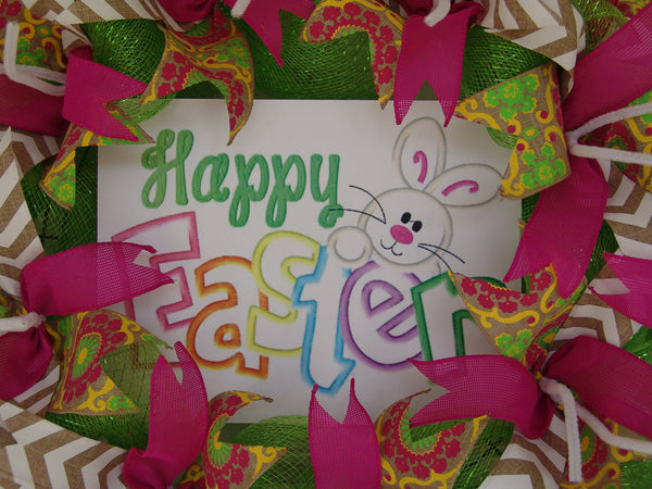 Happy Easter Bunny Deco Pink Mesh Door Wreath 25""