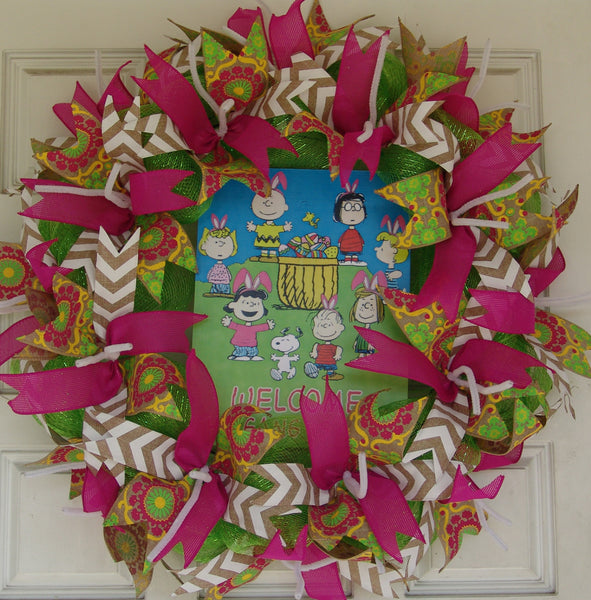 Charlie Brown Easter Snoopy Peanuts Pink Deco Mesh Door Wreath 25""