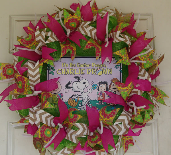 Charlie Brown Easter Beagle Pink Deco Mesh Door Wreath 25""