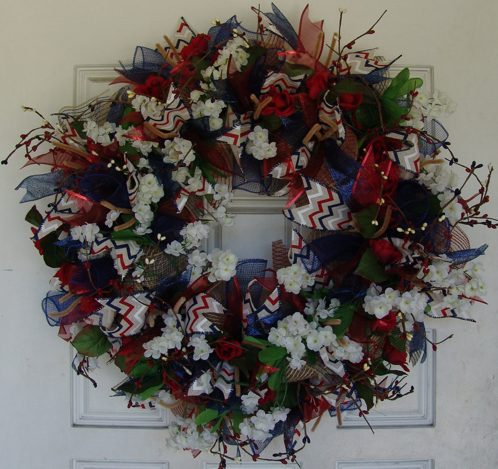 Patriotic Chevron Americana 4th of July Deco Mesh Door Wreath