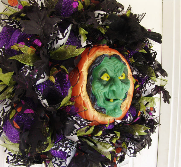 Animated Sound Activated Wicked Witch Halloween Front Door Wreath